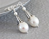 Freshwater White Pearl Earrings, Sterling Silver Earrings, Wedding Jewelry - ThePassionatePearl