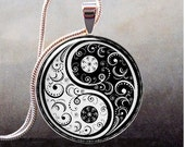Black and White Yin Yang pendant, Yin Yang necklace charm, Yin Yang jewelery, Oriental jewelry - thependantemporium