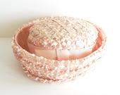 Vintage Pink Pillbox Style Straw Hat
