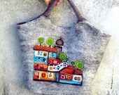 Felt Wool Tote Hundertwasserhaus  inspired,One of kind Felted handbag,  handmade, OOAK Ready to Ship - MSbluesky