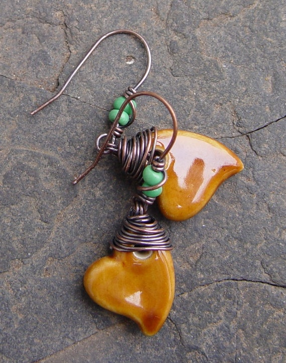 Ceramic Hearts Earrings - Turquoise Green Glass Beads and Copper Wrapped Boho Woodland AWMember