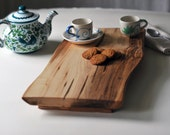 Footed Cutting Board Maple Serving Tray Rustic Cheese Platter Breakfast in Bed Gift for Women - grayworksdesign