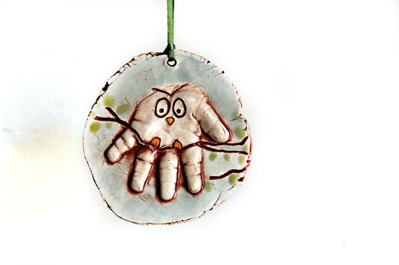 Rustic owl handprint ornament up to 4months