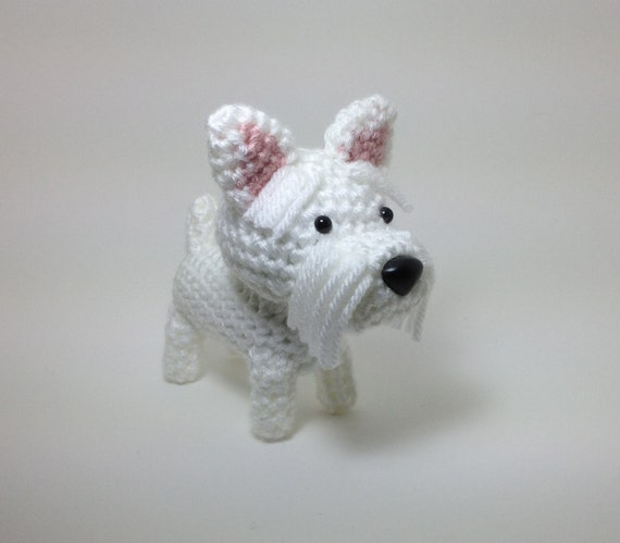 Westie Amigurumi Dog West Highland Terrier Crochet Puppy Stuffed Animal Plush Doll / Made to Order