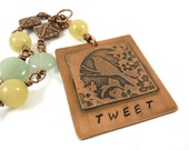 Bird Necklace Etched Copper Pendant Stamped Tweet Blue Amazonite Yellow Jade Stone - ATwistOfWhimsy