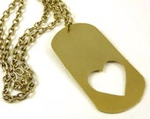 Dog Tag Necklace Long Brass Heart Cut Out