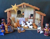 Nativity Set Creche 16 pieces polymer clay Christmas - hookedonclay