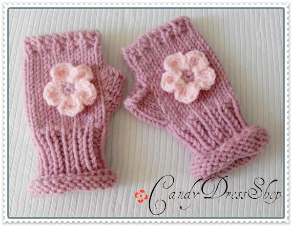 Children's FLORAL mittens (Light Pink)From CandyDressShop - ( Fingerless )