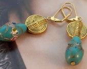 Turquoise gold Pears - Hand-painted Earrings
