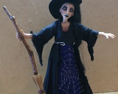 Bracken the Witch, handsculpted miniature doll in 1/12th (one inch) scale