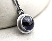 Iolite Necklace, Deep Midnight Dark Indigo Blue Iolite Gemstone Oxidized Sterling Silver Pendant Necklace  - Seakissed - TheSlyFox