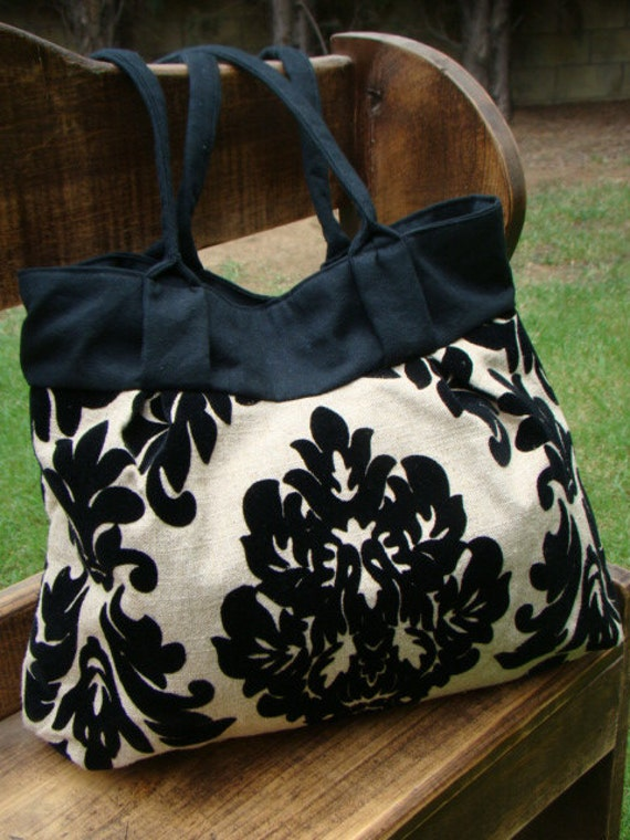 Tan Linen with Black Flocked Damask and Canvas Lined Large Shoulder Bag with Pleats and Darts