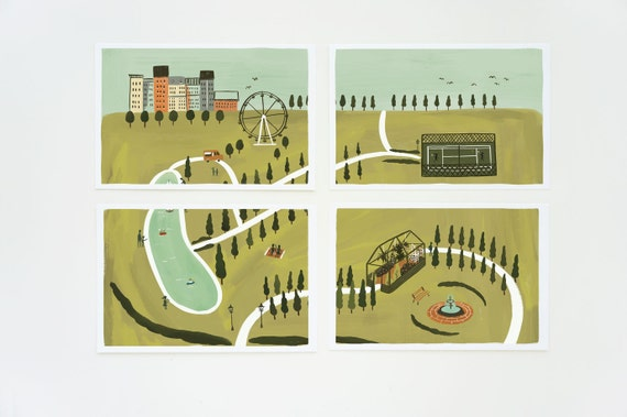 City Park Postcard Set 8pcs