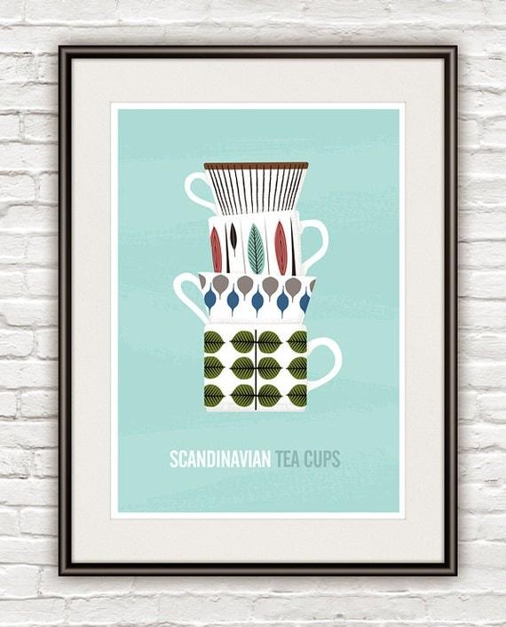 Kitchen art print, scandinavian design, Stig Lindberg, Tea print, Mid Century Modern poster  - Tea Cups  A3