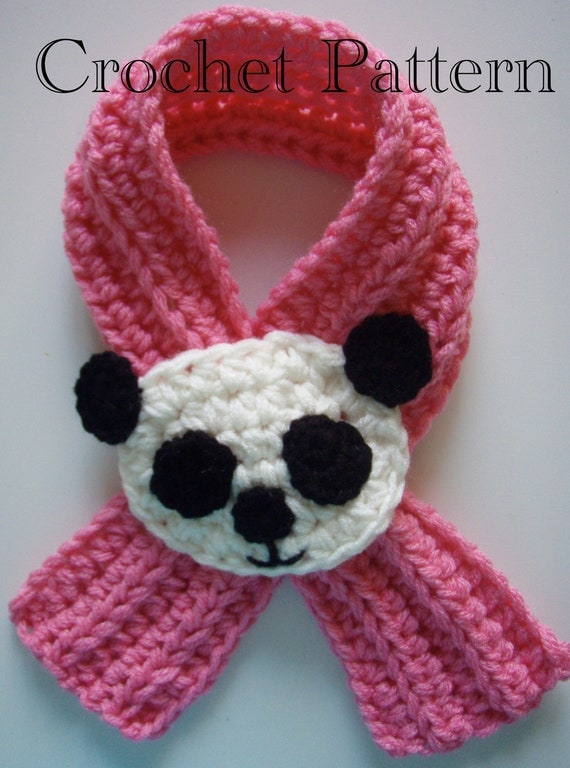 Crochet Panda Scarfette Scarf Pattern PDF