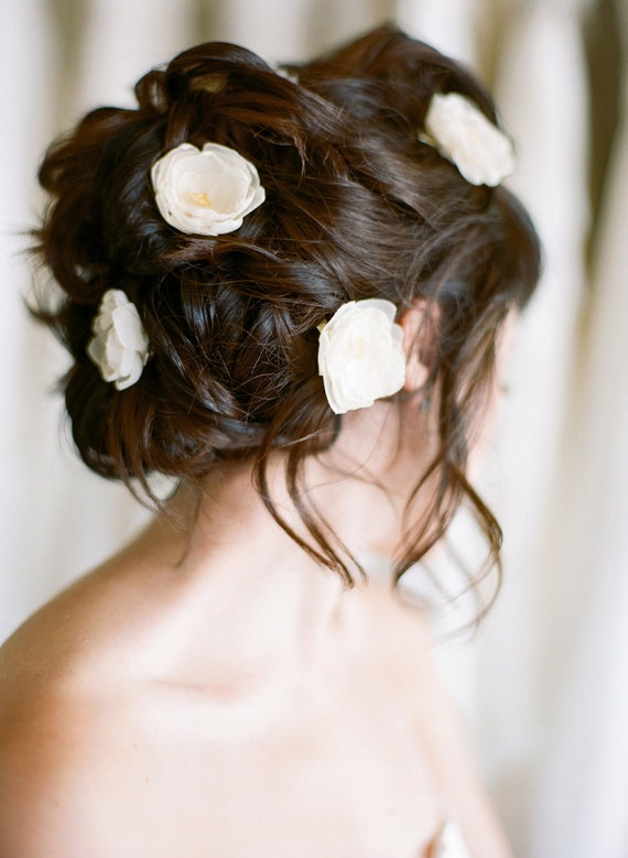 Set of Five Petite Flowers   bridal wedding flower headpiece