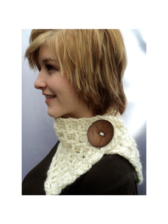 CROCHET PATTERN ONLY  Trellis Neck Scarf  Chunky White view Neck Scarves Crochet Patterns