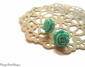 ultramarine green cabbage rose earrings, green earrings, green studs, bridesmaid earrings, ultramarine green - VintageOoakDesigns
