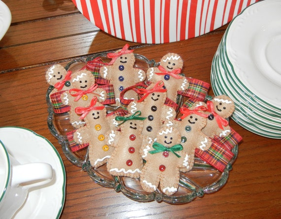 PDF Pattern for Gingerbread Garland, Ornaments, Napkin Rings, Favors, Christmas - Tutorial, DIY