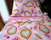 Toddler Bedding Girls Fleece Bed Set  'Pink Rainbows' Handmade Sheets Fits Crib and Toddler Beds