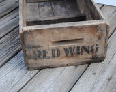 Vintage Wood Crate or Box Red Wing - cheryl12108