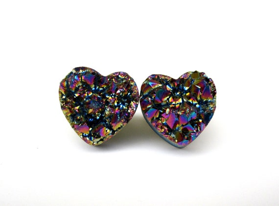Druzy Drusy Heart Stud Earrings Gold and Purple Titanium
