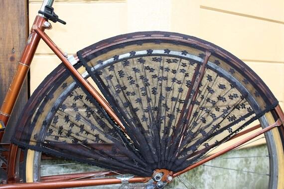 Black floral lace mesh dress hem guard for bicycle wheel
