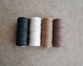 natural hemp twine collection white, dark brown, light brown, black 205 foot spools - inkkit