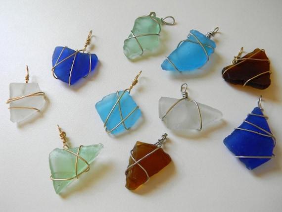 Blue & Silver Sea Glass Pendant