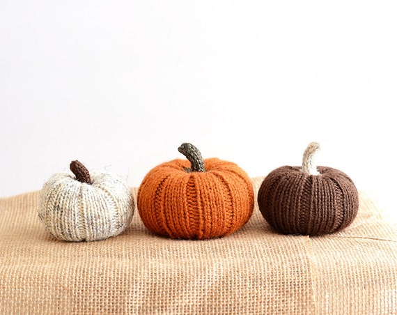 Three Little Pumpkins: Hand Knit Decorations