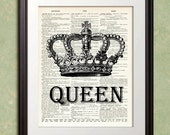 QUEEN CROWN Art Print French Paris Dictionary Art Print Poster Enlargement 10x13 or 11x14 or 12x15 Home Decor Wall Decor