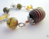 Crazy Lace Agate and Wire Wrapped Wood and Yellow Quartz