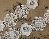 Venise Lace Trim in White - 2 yards for Wedding Dress Supplies Costume Design Flower Applique Lace Trim - lacetime