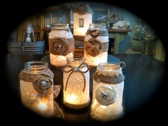 Smaller Decadent burlap mason jars
