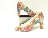 Barkcloth Inspired Hand Painted Pumps - TheWoodsSecretGarden
