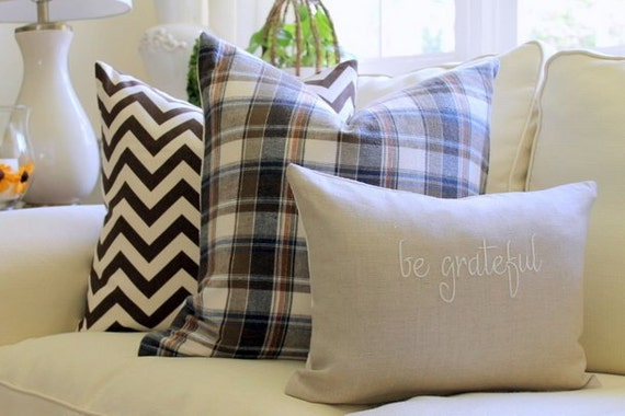 Fall Thanksgiving Decorative Pillow Cover Brown Flannel plaid reversible to ivory matelasse 20 x 20