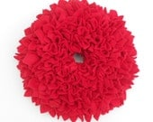"Spring Clearance Sale --- The Zinnia Wreath in Ruby Red - 12"" Round --- Ready to Ship"