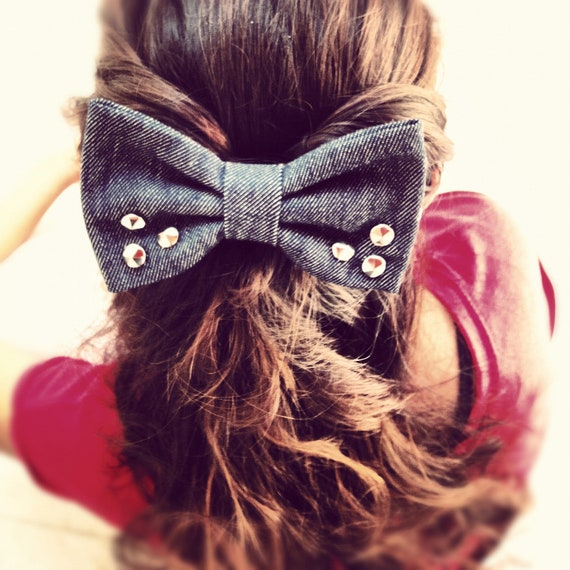 Jeans hair bow with studs