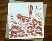 hand printed blank greeting card - wren bird in watermelon pink