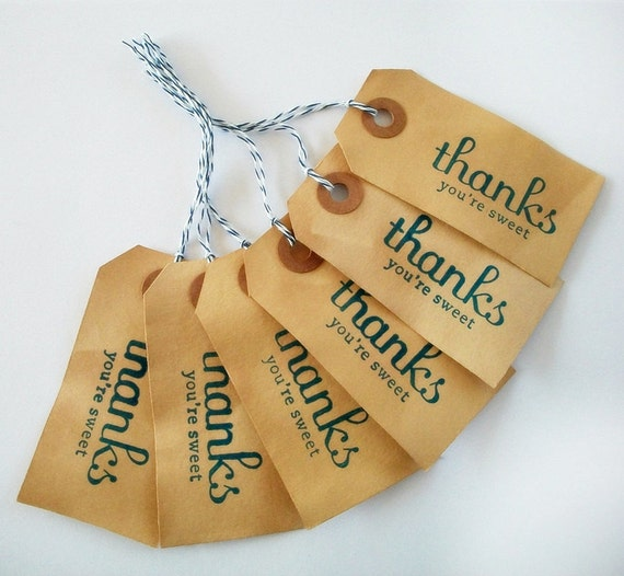Distressed Tea Stained Tags Thanks You're Sweet STR342