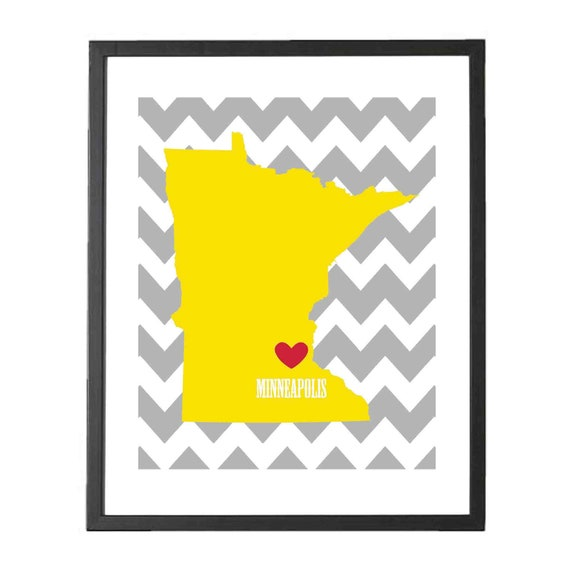 "State Love Map - Fine Art Print - 8""x10"" - Minneapolis, MN - I love Minnesota"