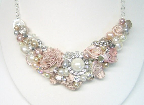 Blush Bridal Bib Necklace- Vintage-Inspired Blush Pearl Brooch Statement Necklace with Roses & Rhinestones- Wedding Jewelry