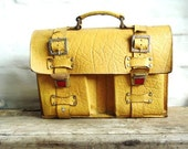 Danish Vintage Yellow Retro Leather School Bag - ArneckeVintage