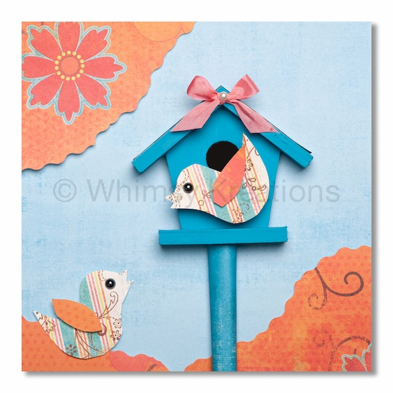 Two Chatty Birds - Whimsical Nursery Art, Children's Art