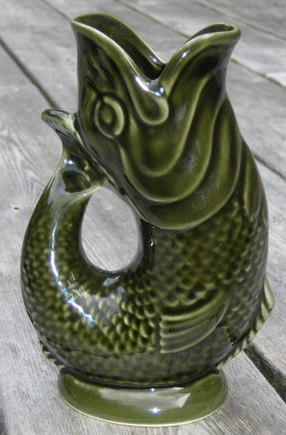 Antique Gurgling Fish Pitchers Jugs Vases English Portugal