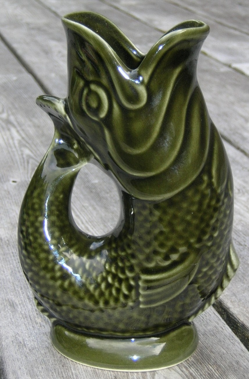 Antique gurgling fish pitchers jugs vases english portugal - Fish pitcher gurgle ...