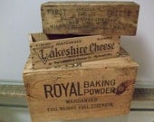 Antique Wood Grocery Store Collection  with Dove Tail Baking Powder Box Two Cheese Boxes - MemoryFurnitureFinds
