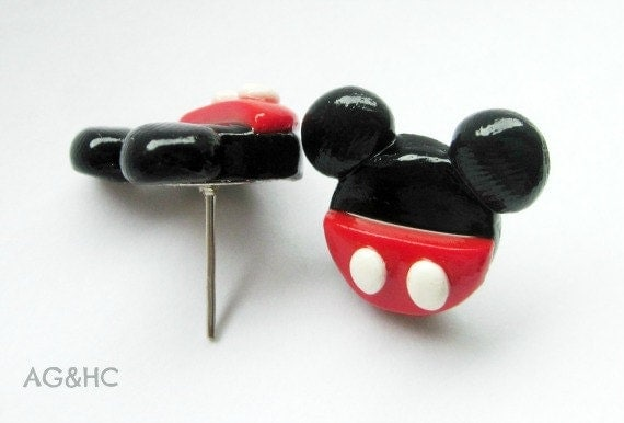 Mickey Mouse Stud Earrings - Handcrafted Polymer Clay Earrings - Disney Inspired Jewelry