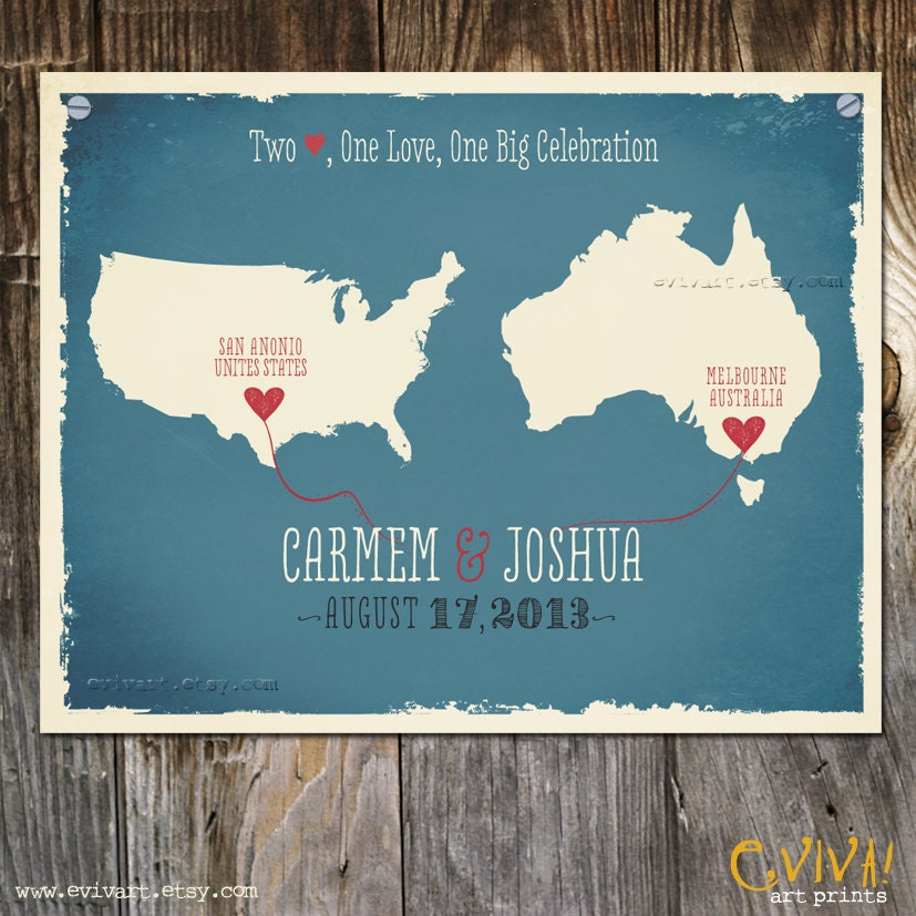 Wedding invite Idea for couples from different countriesstates