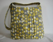 Cross Body Bag, Pleated Book Bag, Tote in Mustard and Grey Retro Dot print